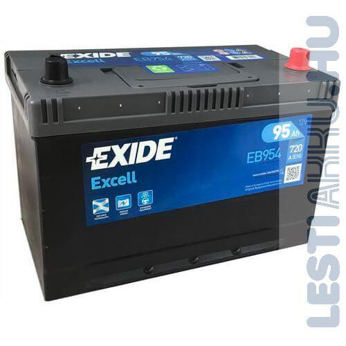 EXIDE Excell Autó Akkumulátor 12V 95Ah 720A Japán Jobb+ (EB954)