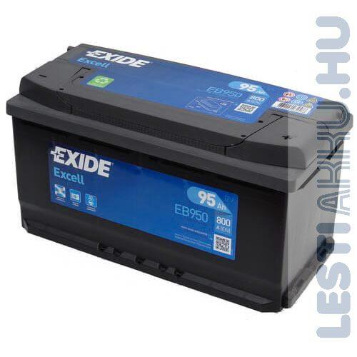 EXIDE Excell Autó Akkumulátor 12V 95Ah 800A Jobb+ (EB950)