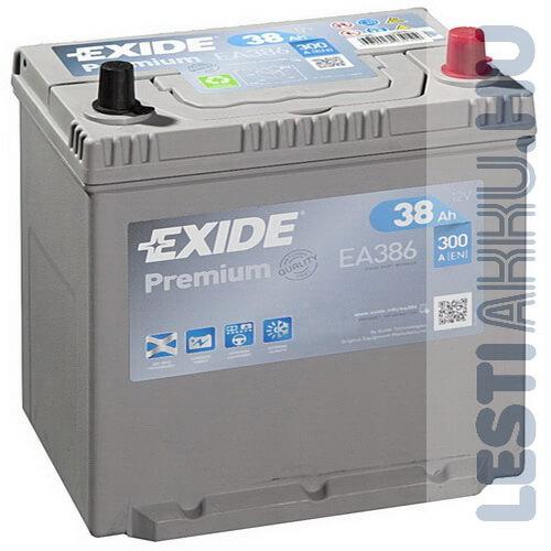 EXIDE Premium Autó Akkumulátor 12V 38Ah 300A Japán Jobb+ (EA386)