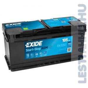 EXIDE Start Stop AGM Autó Akkumulátor 12V 105Ah 950A Jobb+ (EK1050)