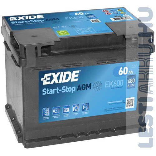 EXIDE Start Stop AGM Autó Akkumulátor 12V 60Ah 680A Jobb+ (EK600)