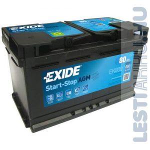 EXIDE Start Stop AGM Autó Akkumulátor 12V 80Ah 800A Jobb+ (EK800)