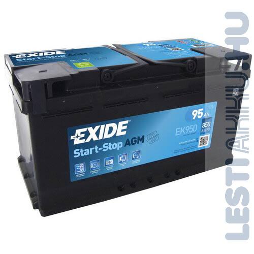 EXIDE Start Stop AGM Autó Akkumulátor 12V 95Ah 850A Jobb+ (EK950)