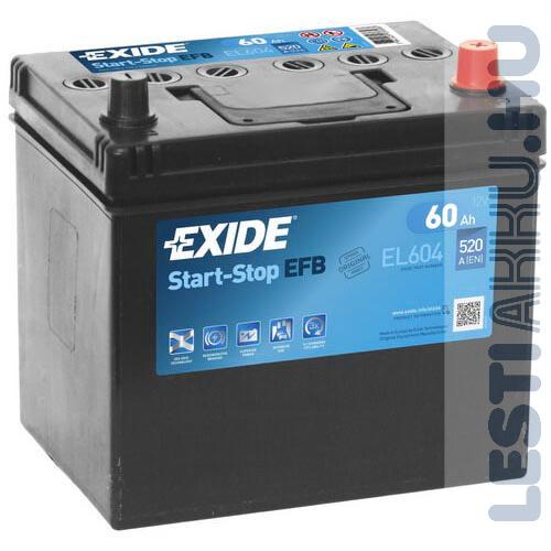 EXIDE Start Stop EFB Autó Akkumulátor 12V 60Ah 520A Japán Jobb+ (EL604)