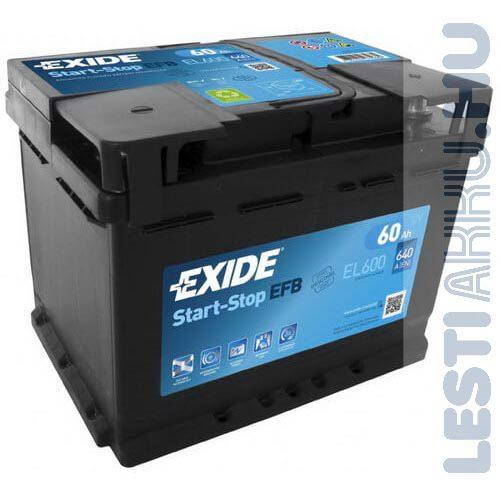 EXIDE Start Stop EFB Autó Akkumulátor 12V 60Ah 640A Jobb+ (EL600)