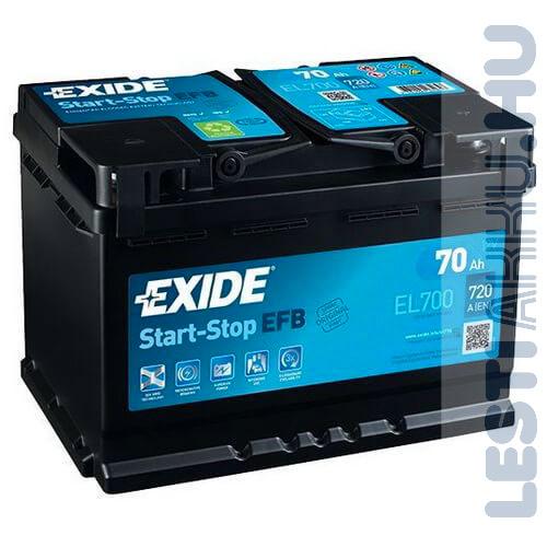 EXIDE Start Stop EFB Autó Akkumulátor 12V 70Ah 720A Jobb+ (EL700)