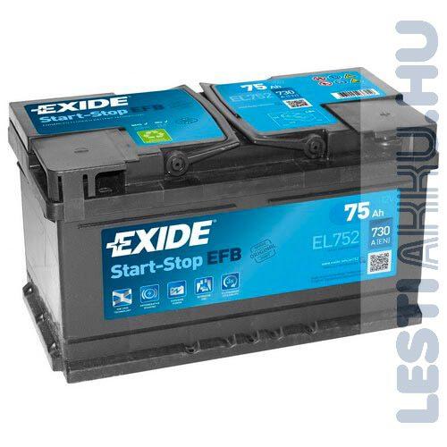 EXIDE Start Stop EFB Autó Akkumulátor 12V 75Ah 730A Jobb+ (EL752)