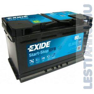 EXIDE Start Stop EFB Autó Akkumulátor 12V 80Ah 720A Jobb+ (EL800)
