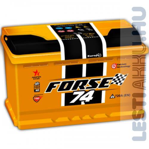 FORSE Autó Akkumulátor 12V 74Ah 720A Jobb+
