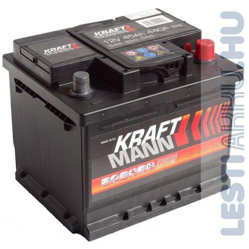 KRAFTMANN Autó Akkumulátor 12V 45Ah 440A Jobb+