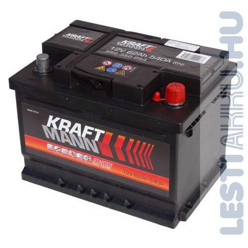 KRAFTMANN Autó Akkumulátor 12V 62Ah 540A Jobb+