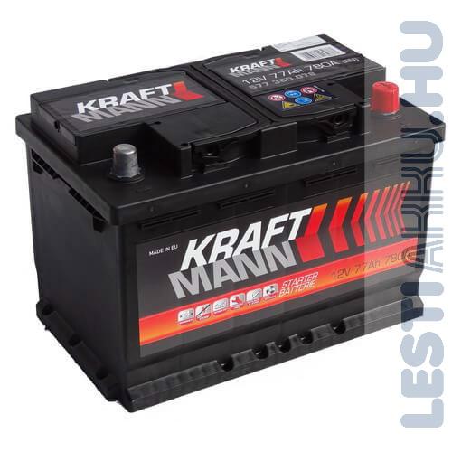KRAFTMANN Autó Akkumulátor 12V 77Ah 780A Jobb+