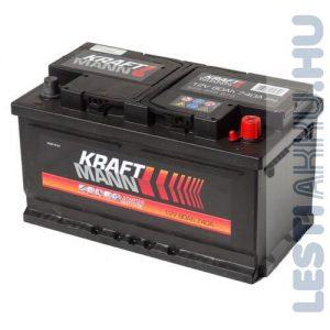 KRAFTMANN Autó Akkumulátor 12V 80Ah 740A Jobb+