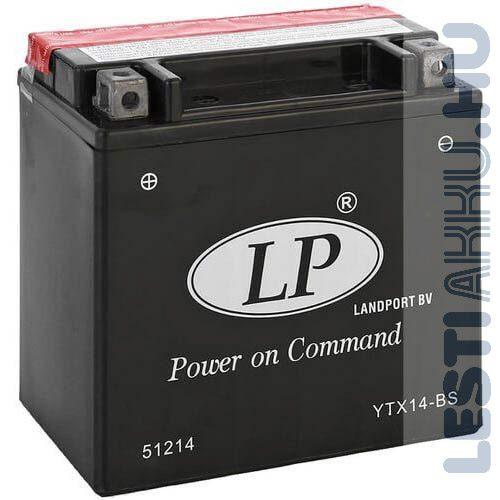 Landport Motor Akkumulátor YTX14-BS 12V 12Ah 190A Bal+