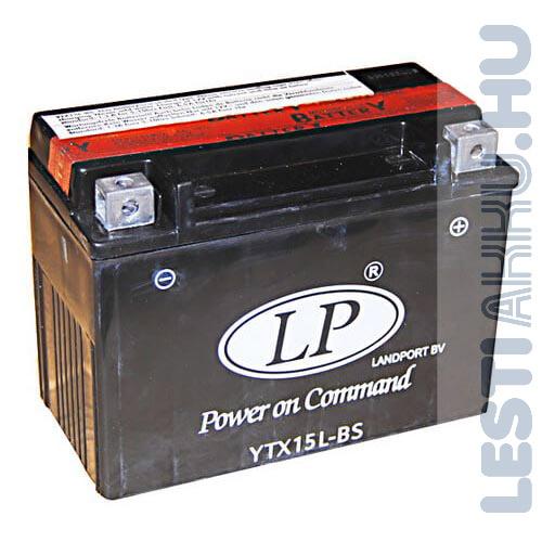 Landport Motor Akkumulátor YTX15L-BS 12V 12Ah Jobb+