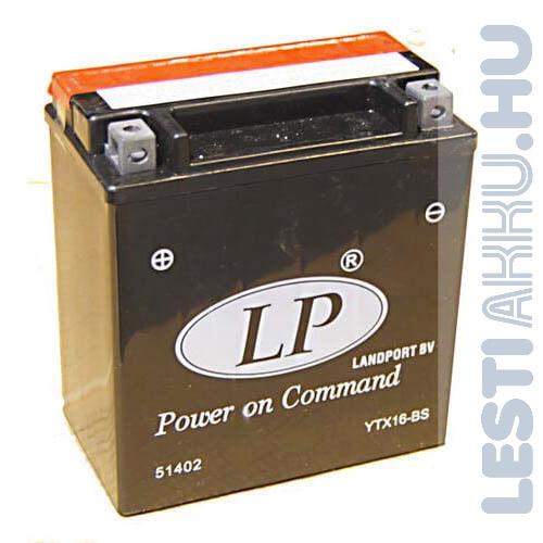 Landport Motor Akkumulátor YTX16-BS-1 12V 14Ah 220A Bal+