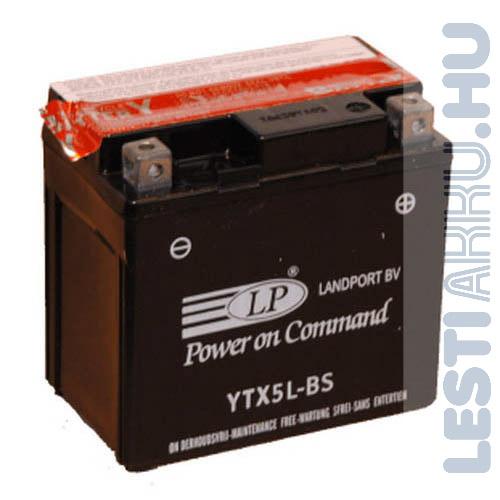 Landport Motor Akkumulátor YTX5L-BS 12V 4Ah Jobb+