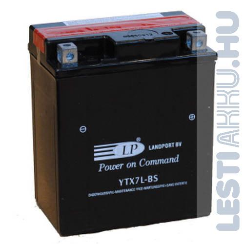 Landport Motor Akkumulátor YTX7L-BS 12V 6Ah Jobb+