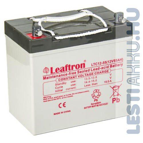 Leaftron ciklikus zselés AGM akkumulátor 12V 55Ah bal+ (LTC12-55)