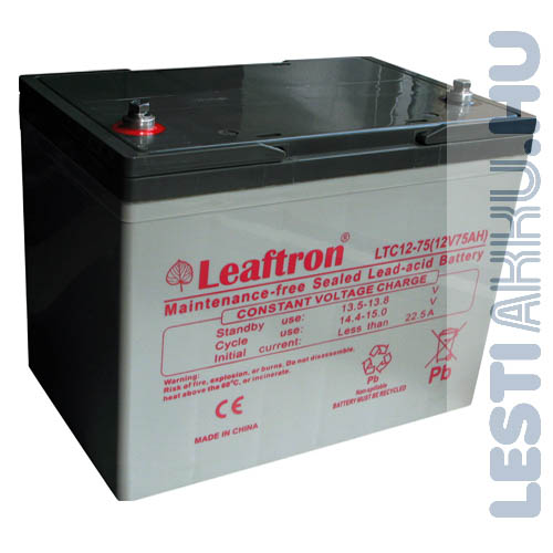 Leaftron ciklikus zselés AGM kerekesszék akkumulátor 12V 75Ah bal+ (LTC12-75)