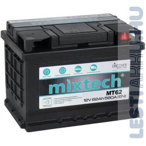 Mixtech Autó Akkumulátor 12V 62Ah 580A Jobb+