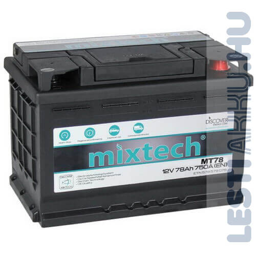 Mixtech Autó Akkumulátor 12V 78Ah 750A Jobb+