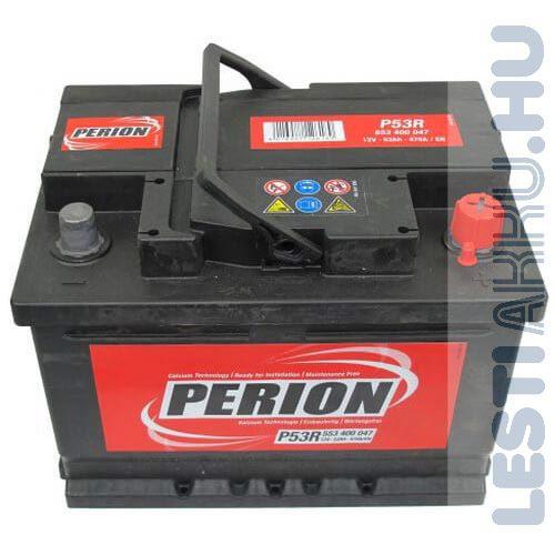 PERION Autó Akkumulátor 12V 53Ah 470A Jobb+ (5534000477482)