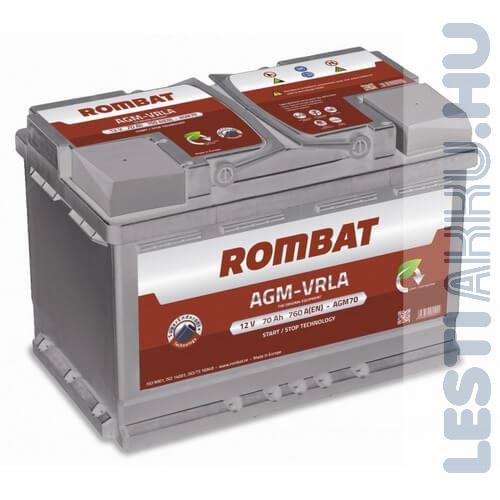 ROMBAT AGM-VRLA Autó Akkumulátor 12V 70Ah 760A Jobb+