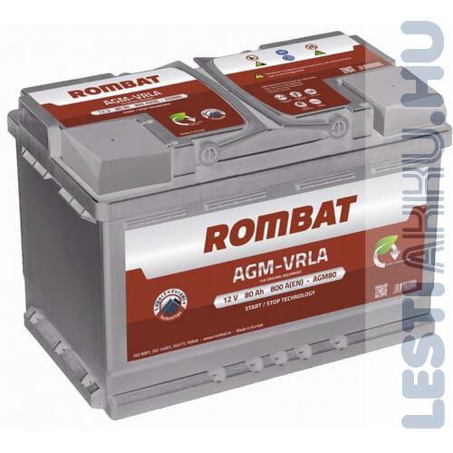 ROMBAT AGM-VRLA Autó Akkumulátor 12V 80Ah 800A Jobb+