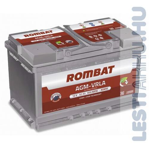 ROMBAT AGM-VRLA Autó Akkumulátor 12V 92Ah 900A Jobb+