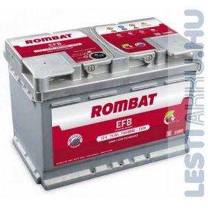 ROMBAT EFB Autó Akkumulátor 12V 75Ah 730A Jobb+
