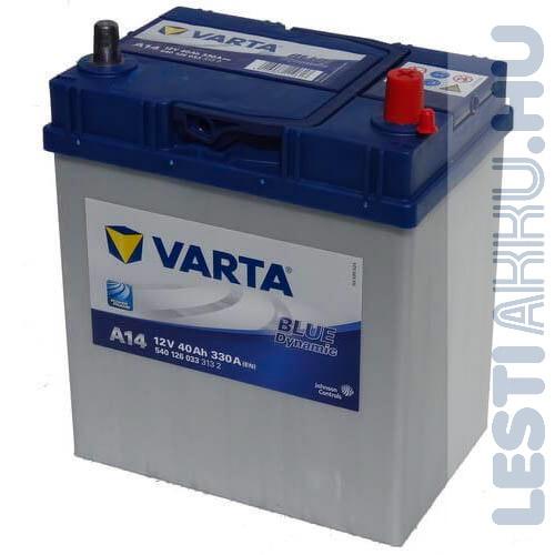 VARTA A14 Blue Dynamic Autó Akkumulátor 12V 40Ah 330A Japán Jobb+ (540126033)