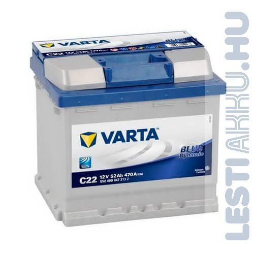 VARTA C22 Blue Dynamic Autó Akkumulátor 12V 52Ah 470A Jobb+ (552400047)