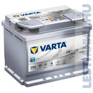 VARTA D52 Silver Dynamic AGM Autó Akkumulátor 12V 60Ah 680A Jobb+ (560901068)