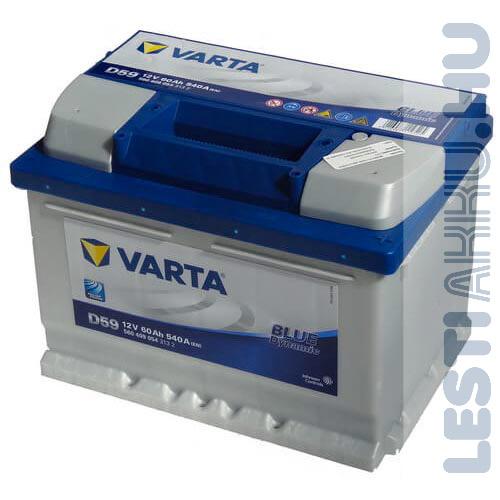 VARTA D59 Blue Dynamic Autó Akkumulátor 12V 60Ah 540A Alacsony Jobb+ (560409054)