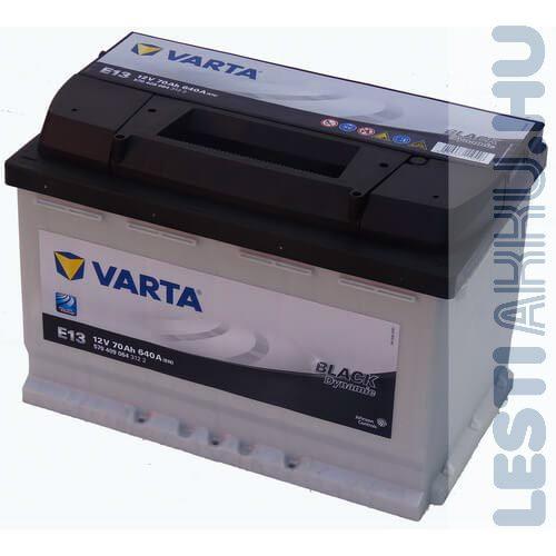 VARTA E13 Black Dynamic Autó Akkumulátor 12V 70Ah 640A Normál Jobb+ (570409064)