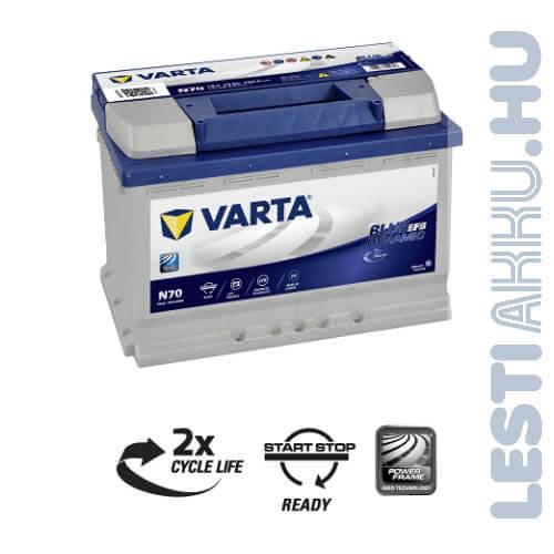 VARTA N70 Blue Dynamic EFB Autó Akkumulátor 12V 70Ah 760A Jobb+ (570500076)