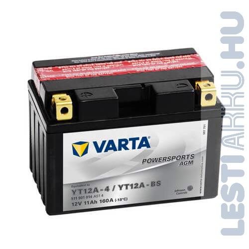 VARTA Powersports AGM Motor Akkumulátor YT12A-4 (YT12A-BS) 12V 11Ah 160A Bal+ (511901014A514)