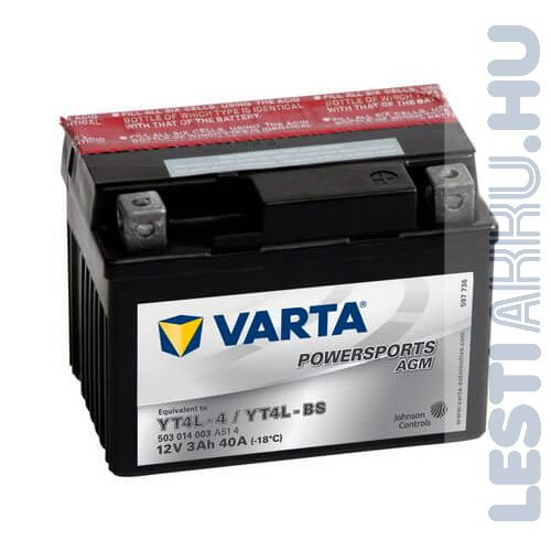 VARTA Powersports AGM Motor Akkumulátor YT4L-BS (YTX4L-BS) 12V 3Ah 40A Jobb+ (503014003A514)