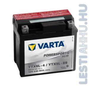 VARTA Powersports AGM Motor Akkumulátor YTX5L-BS 12V 4Ah 80A Jobb+ (504012003A514)
