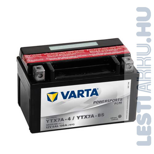 VARTA Powersports AGM Motor Akkumulátor YTX7A-BS 12V 6Ah 105A Bal+ (506015005A514)