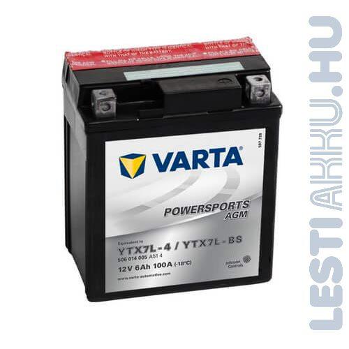 VARTA Powersports AGM Motor Akkumulátor YTX7L-BS 12V 6Ah 100A Jobb+ (506014005A514)