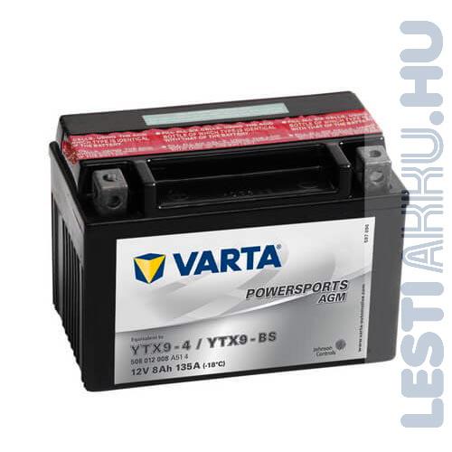 VARTA Powersports AGM Motor Akkumulátor YTX9-BS 12V 8Ah 135A Bal+ (508012008A514)