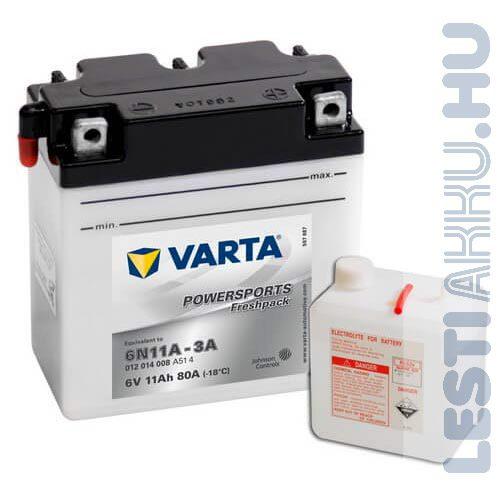 VARTA Powersports Freshpack Motor Akkumulátor 6N11A-3A 6V 11Ah 80A Jobb+ (012014008A514)