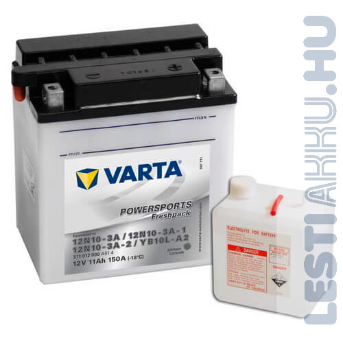VARTA Powersports Freshpack Motor Akkumulátor YB10L-A2 (12N10-3A) 12V 11Ah 150A Jobb+ (511012009A514)