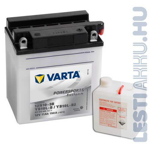 VARTA Powersports Freshpack Motor Akkumulátor YB10L-B (12N10-3B) 12V 11Ah 150A Jobb+ (511013009A514)