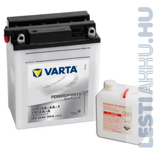 VARTA Powersports Freshpack Motor Akkumulátor YB12A-A (12N12A-4A-1) 12V 12Ah 160A Bal+ (512011012A514)