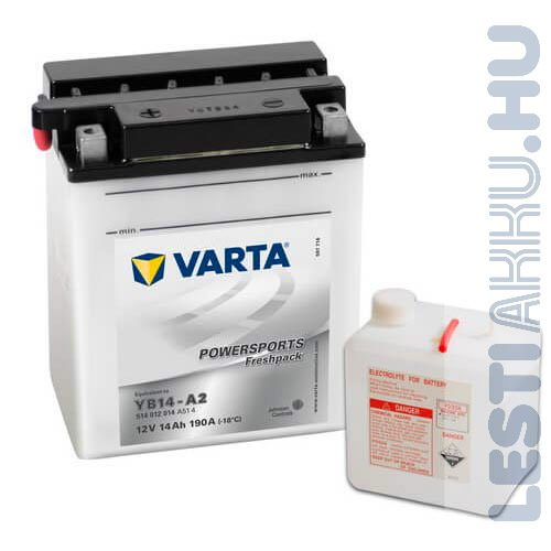 VARTA Powersports Freshpack Motor Akkumulátor YB14-A2 12V 14Ah 140A Bal+ (514012014A514)