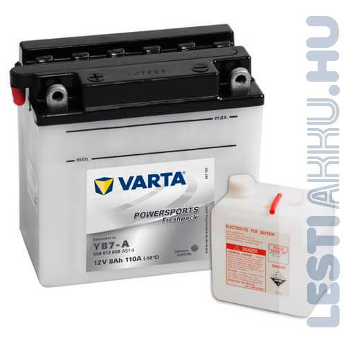 VARTA Powersports Freshpack Motor Akkumulátor YB7-A 12V 8Ah 110A Bal+ (508013008A514)