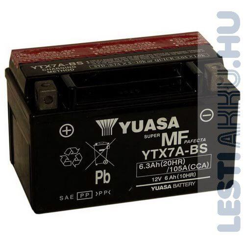 YUASA Motor Akkumulátor YTX7A-BS 12V 6Ah 105A Bal+